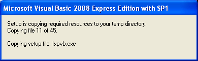 Install the Visual Basic 2008 Express Edition: copying the required resources to the temporary folder