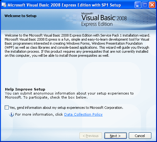 Install the Visual Basic 2008 Express Edition: the setup welcome page