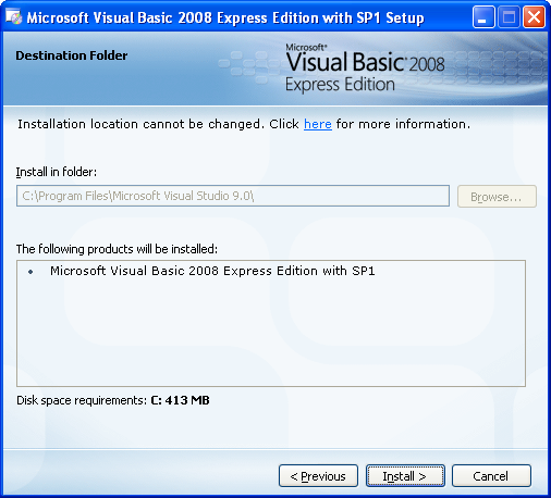 Install the Visual Basic 2008 Express Edition: the installation path and the summary