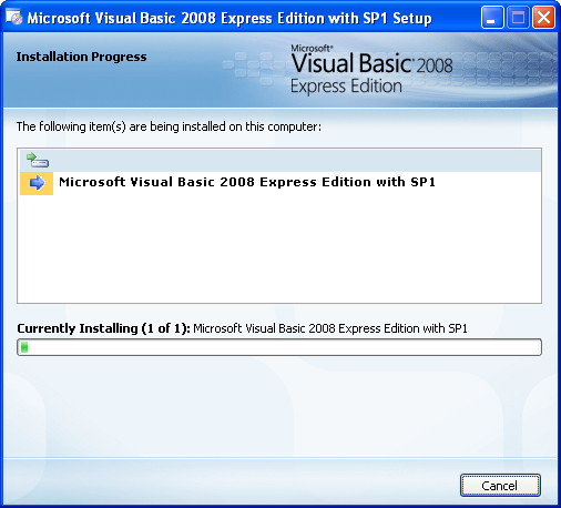 Install the Visual Basic 2008 Express Edition: the installation starts, go and have a coffee break!