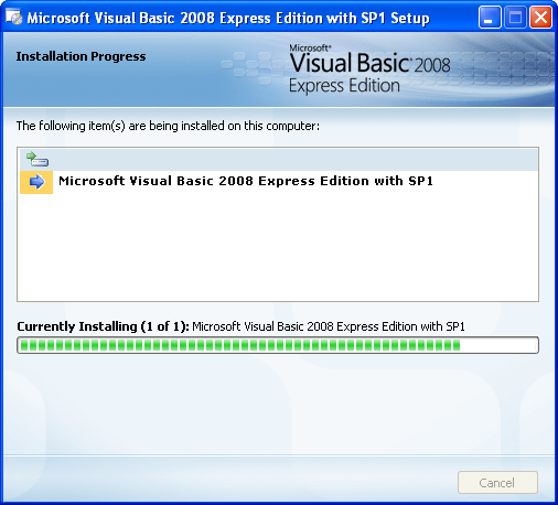 Install the Visual Basic 2008 Express Edition: the installation is in progress
