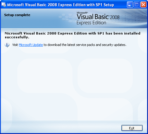 Install the Visual Basic 2008 Express Edition: the installation is completed successfully