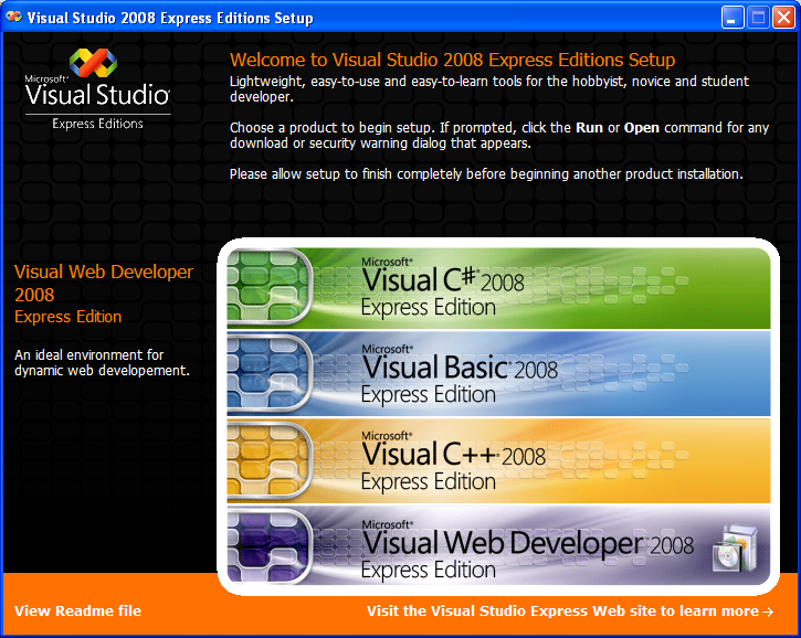 Install the Visual C++ 2008 Express Edition: the main setup page