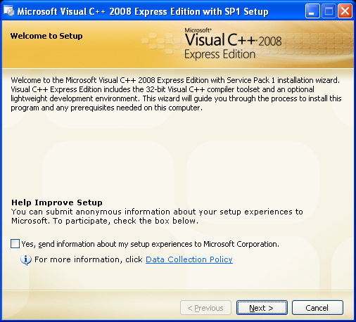 Install the Visual C++ 2008 Express Edition: the setup welcome page