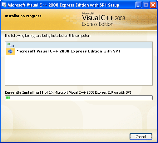 Install the Visual C++ 2008 Express Edition: the installation starts and you can go to sleep first!