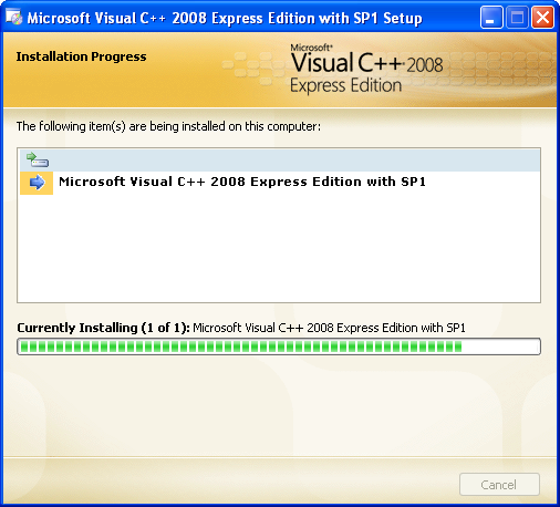 Install the Visual C++ 2008 Express Edition: the installation is in progress