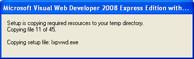 Install the Visual Web Developer 2008 Express Edition: copying the required resources to the temporary folder