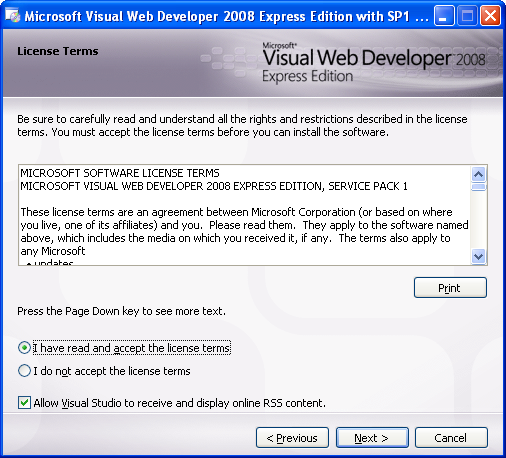 Install the Visual Web Developer 2008 Express Edition: accepting the license terms agreement