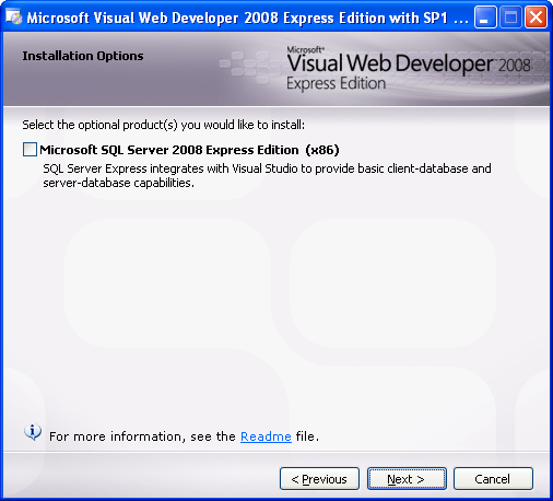 Install the Visual Web Developer 2008 Express Edition: skipping the MSSQL Express Edition component installation