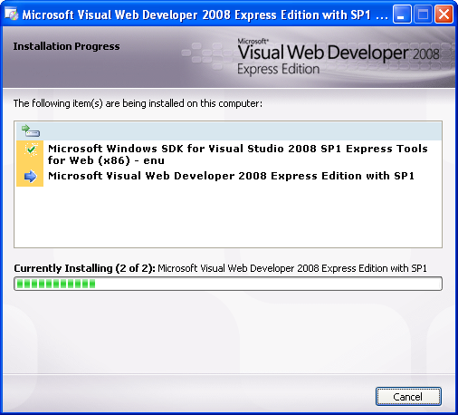 Install the Visual Web Developer 2008 Express Edition: the installation starts