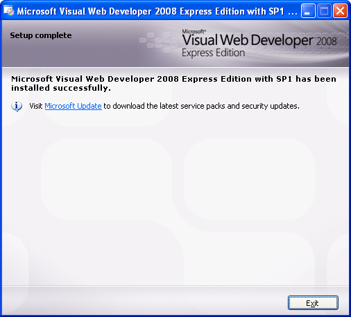 Install the Visual Web Developer 2008 Express Edition: the installation was completed successfully