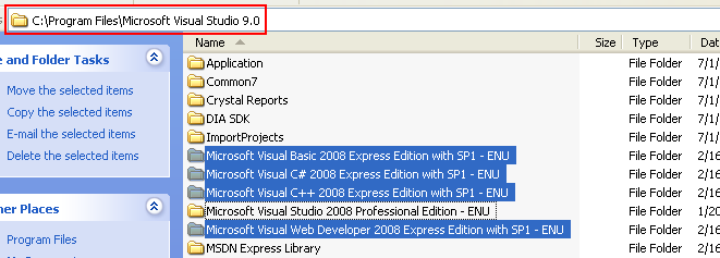Install the Visual Studio 2008 Express Edition: the physical installation path
