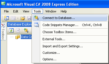 Install the MSSQL Express Edition: connecting to MSSQL database in Visual C# programming environment