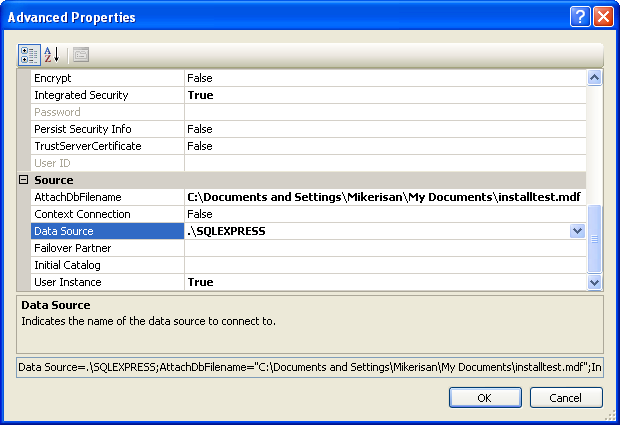 Install the MSSQL Express Edition: the advanced properties of the database