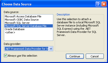 Install the MSSQL Express Edition: several types data source including the Oracle