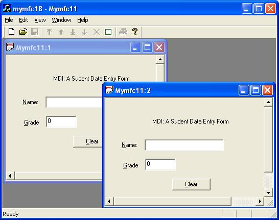 The MFC C++ Windows GUI Multiple Document Interface (MDI