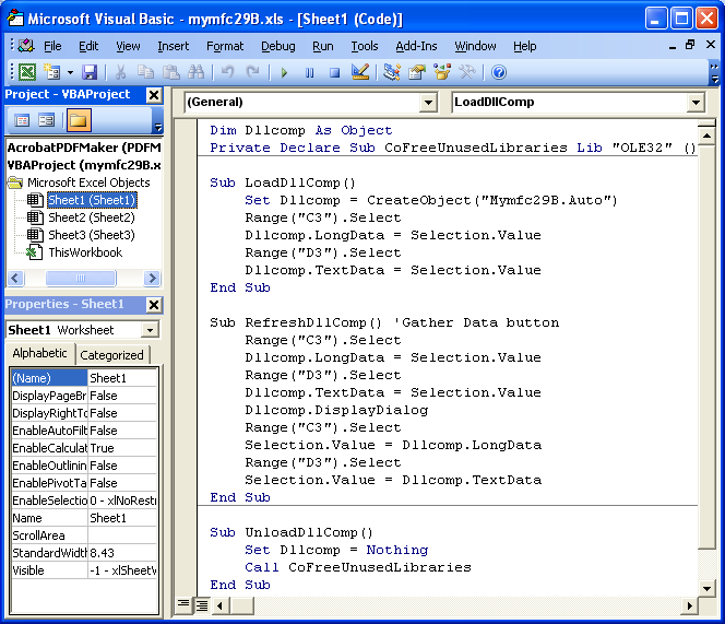 The Windows automation component program example using the MFC ...