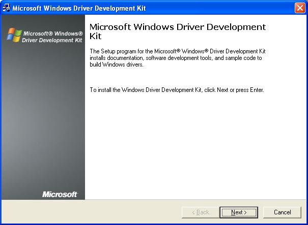 Installing Microsoft Windows Driver Development Kit (DDK