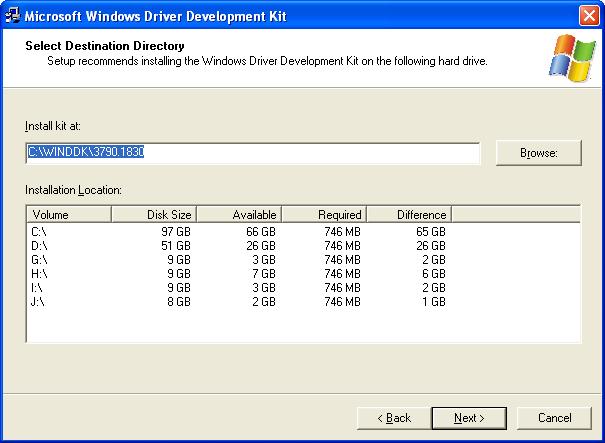 Installing Microsoft Windows Driver Development Kit (DDK) for